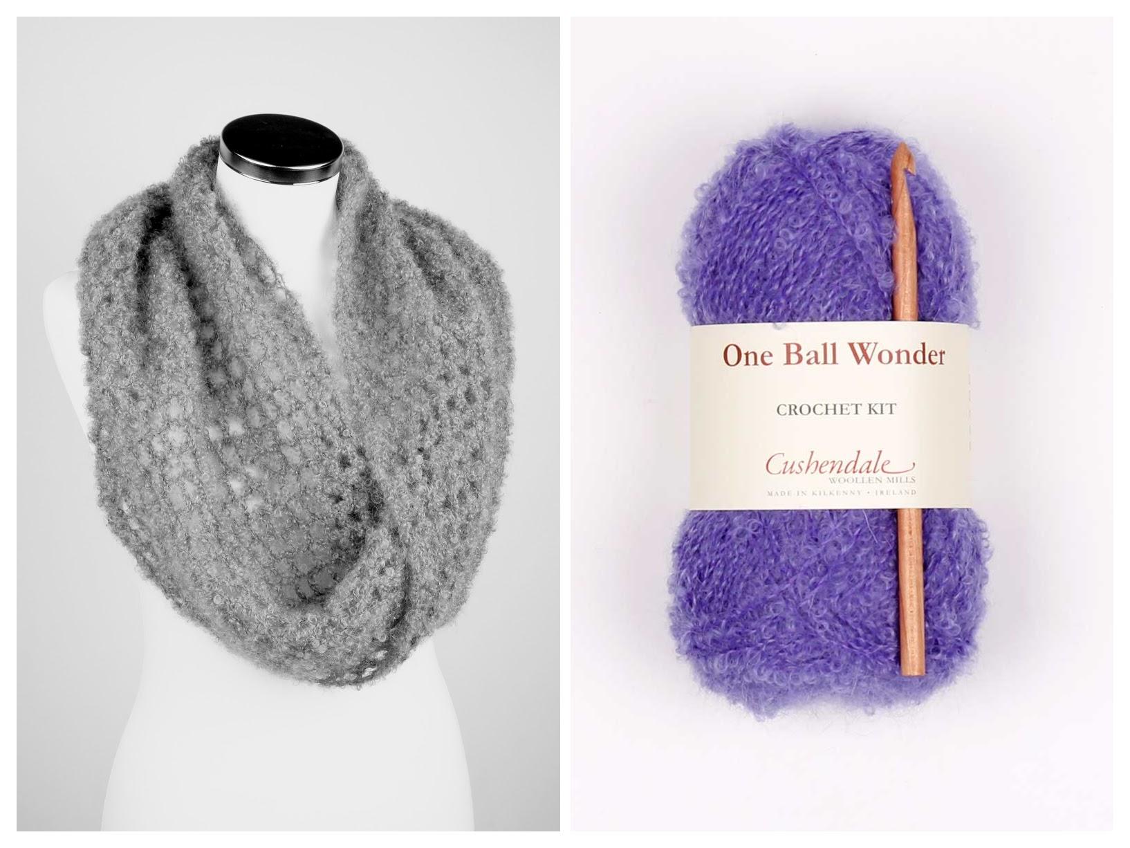 Snood Mohair Crochet Kit Violet Cushendale Woollen Mills
