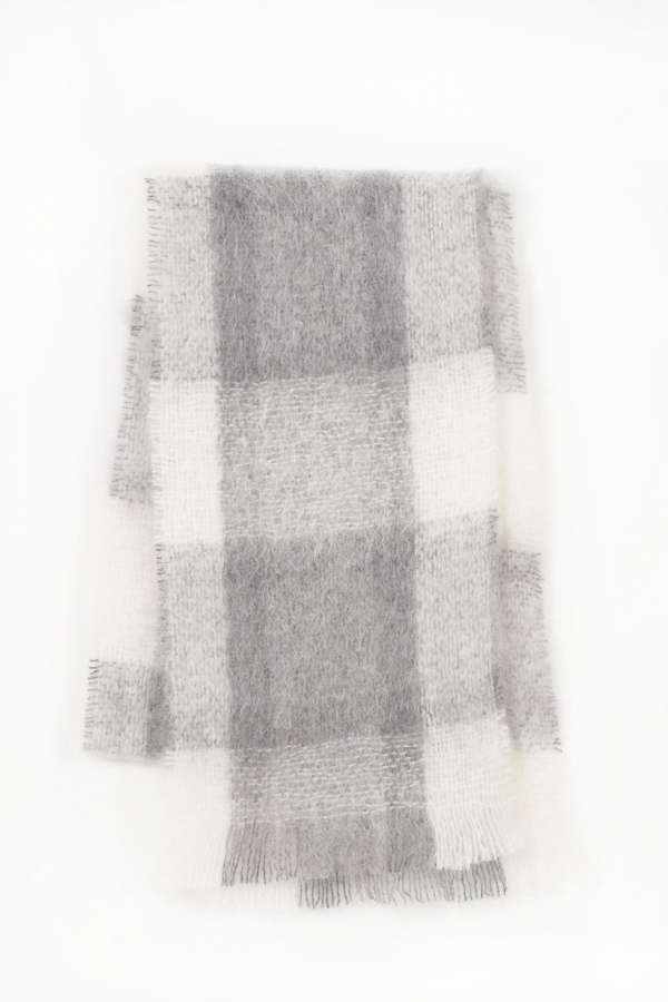 Grey Ivory Irish Mohair Scarf
