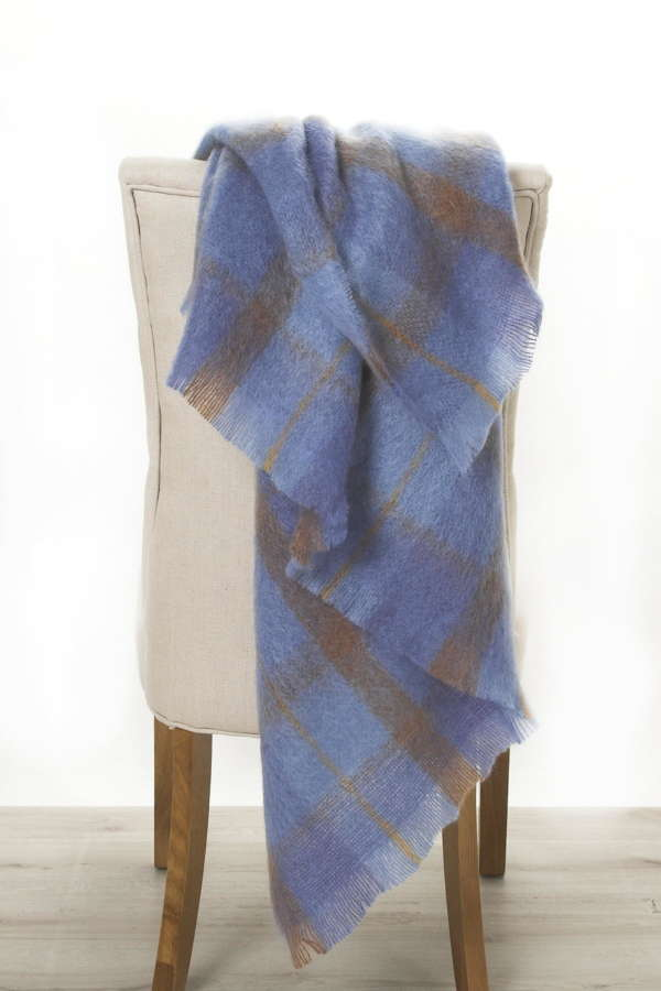 Blue Irish Mohair Throw