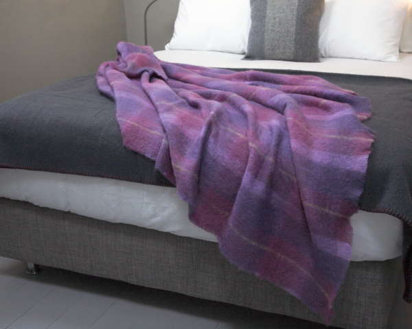 Berry Plaid Irish Mohair Throw