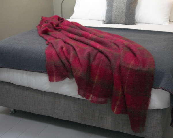 Cranberry Red Irish Mohair Throw