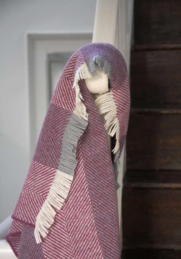 Purple Heather Herringbone Irish Wool Throw