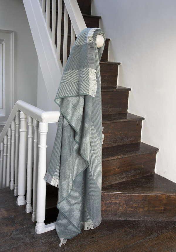 Sage Green Herringbone Irish Wool Throw