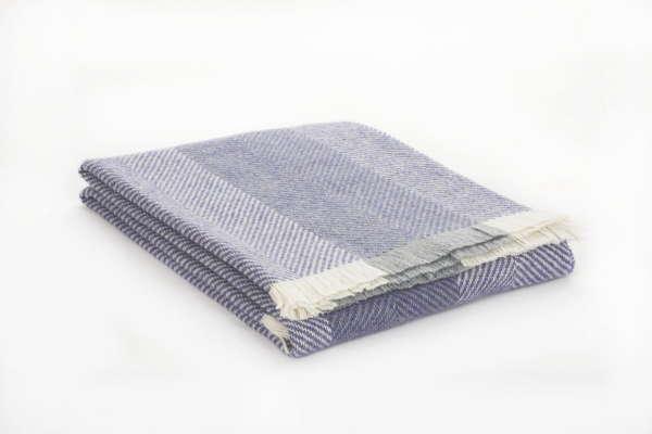 Indigo Blue Herringbone Irish Wool Throw