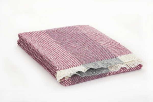 Berry Herringbone Irish Wool Throw