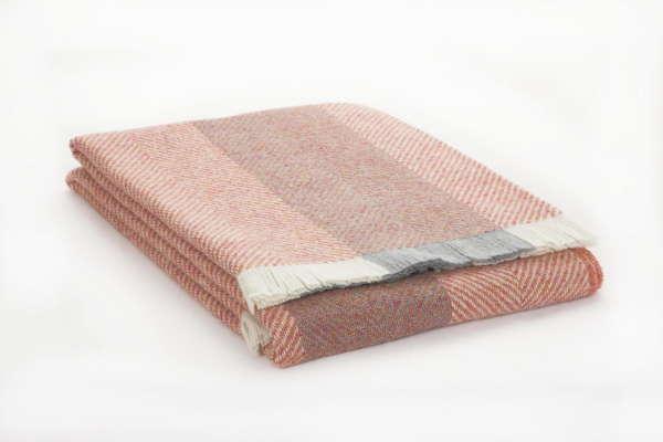 Salmon Herringbone Irish Wool Throw