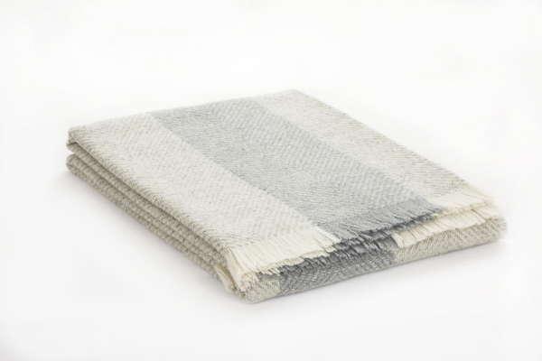 Grey Silver Herringbone Irish Wool Throw