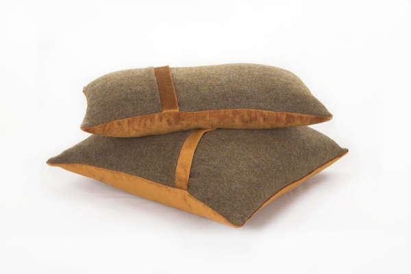 Brown Ochre Irish Tweed Cushion
