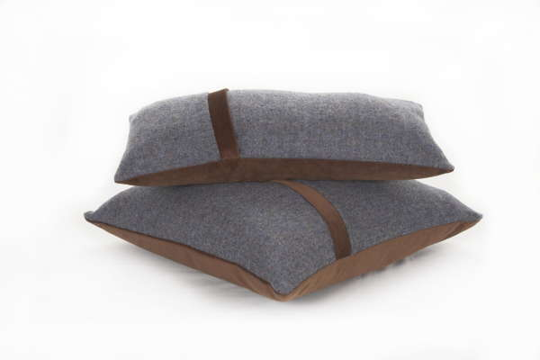 Blue Brown Irish Tweed Cushion