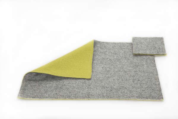 Mustard Grey Irish Tweed Wool Placemat