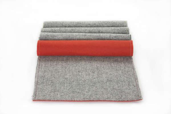 Orange Grey Irish Tweed Wool Placemat