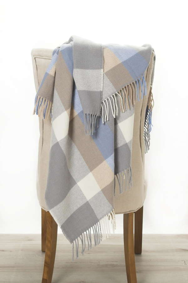 Sky Blue Irish Wool Throw