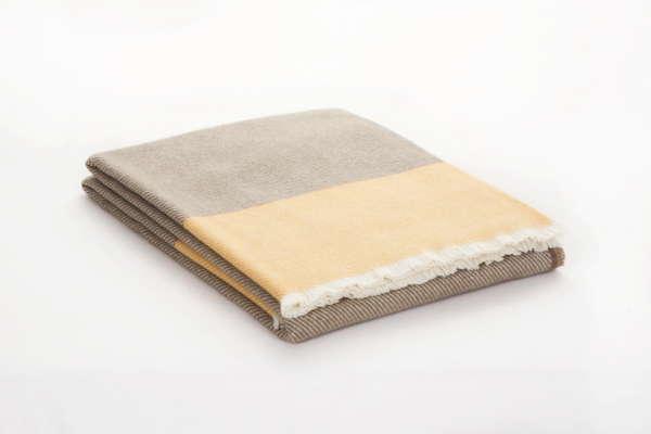 Grey Yellow Irish Wool Throw
