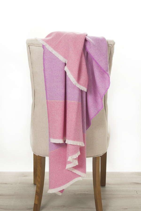 Pink Purple Irish Wool Throw