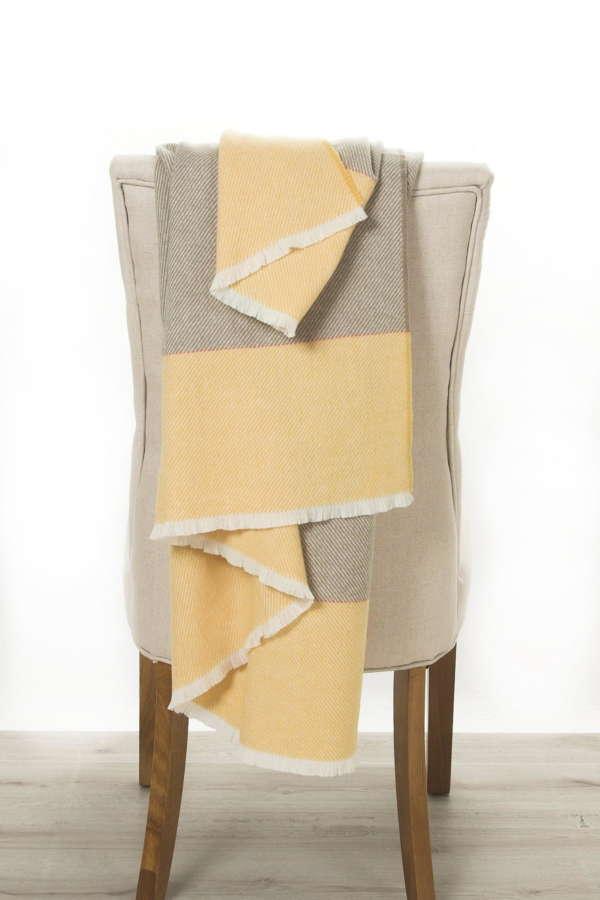 Yellow Beige Irish Wool Throw