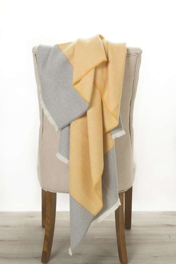 Yellow Grey Irish Wool Throw