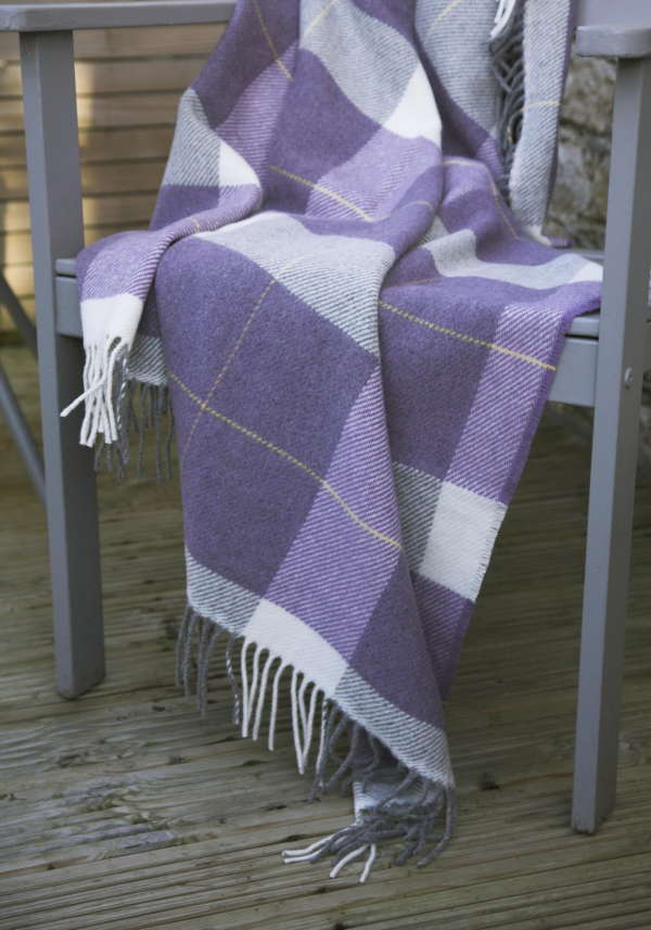 Purple Plaid Irish Wool Throw