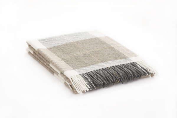 Beige Loam Plaid Irish Wool Throw