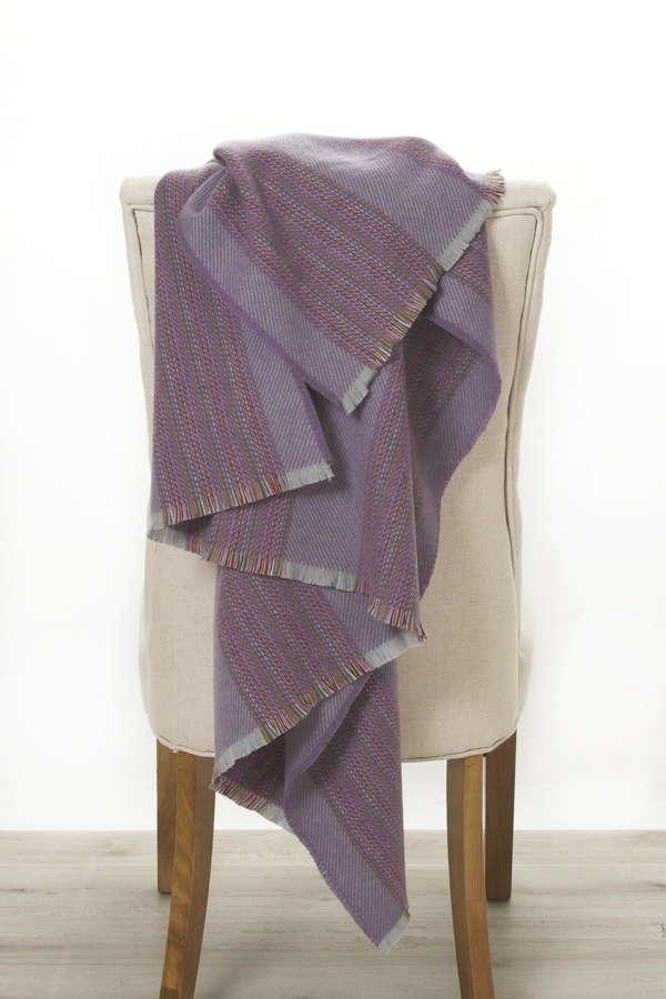 Purple Grape Stripe Irish Wool Throw