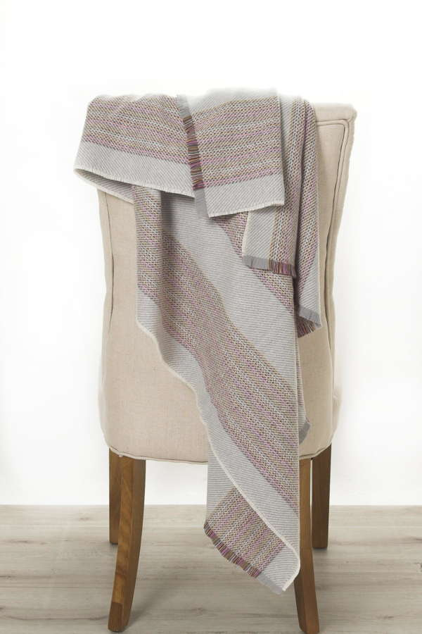 Grey Snow Stripe Irish Wool Throw