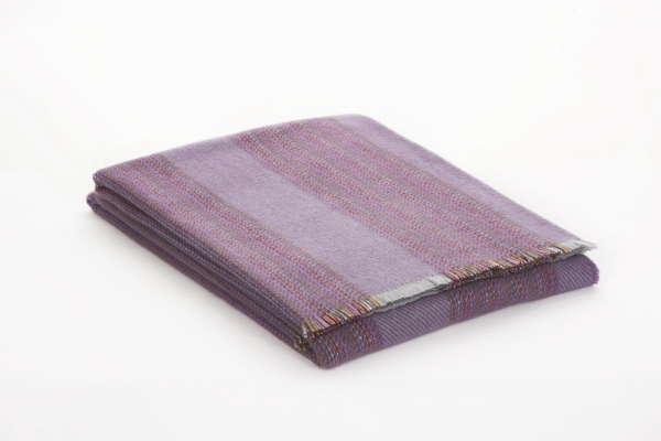Purple Stripe Irish Wool Throw