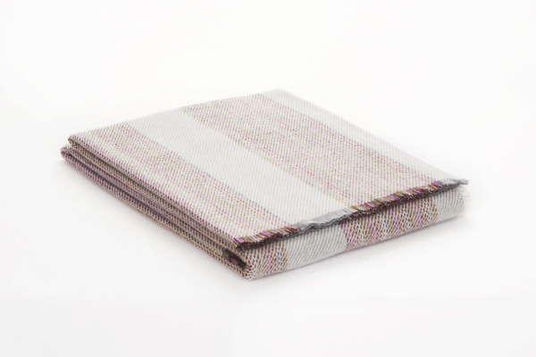 Grey White Stripe Irish Wool Throw