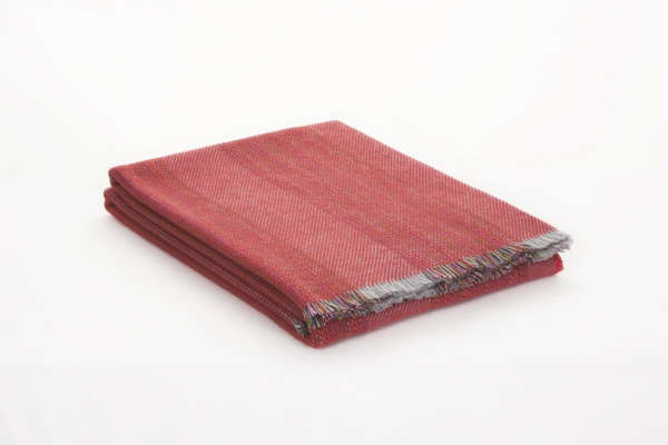 Red Wine Stripe Irish Wool Throw