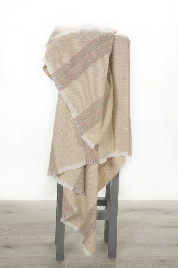Cream Fawn Rainbow Irish Wool Throw