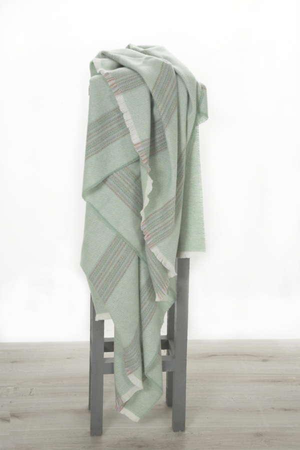 Green Rainbow Irish Wool Throw