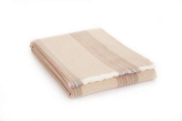 Fawn Cream Rainbow Irish Wool Throw