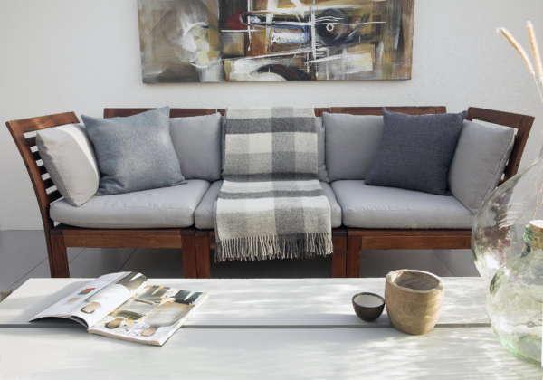 Grey Irish Wool Picnic Blanket