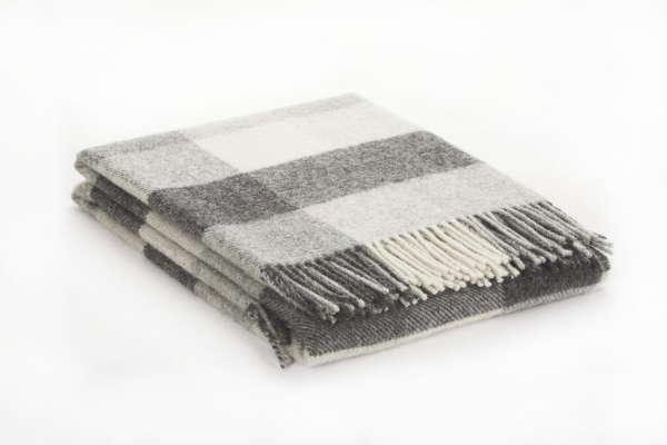 Grey Charcoal Irish Wool Throw